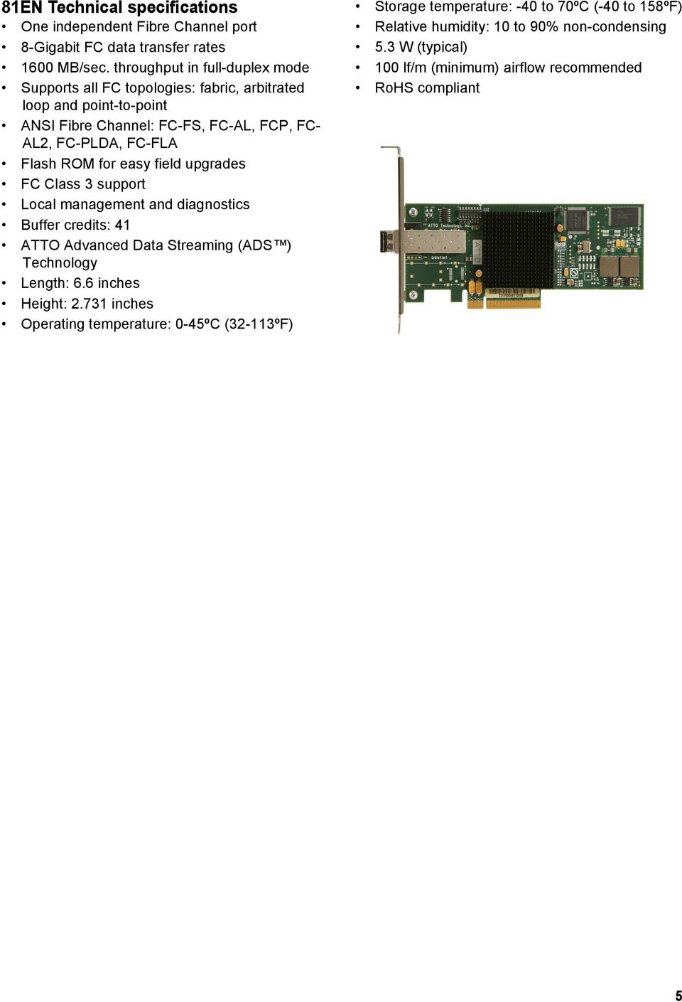 ATTO Celerity Fibre Channel Host Adapters Installation and Operation