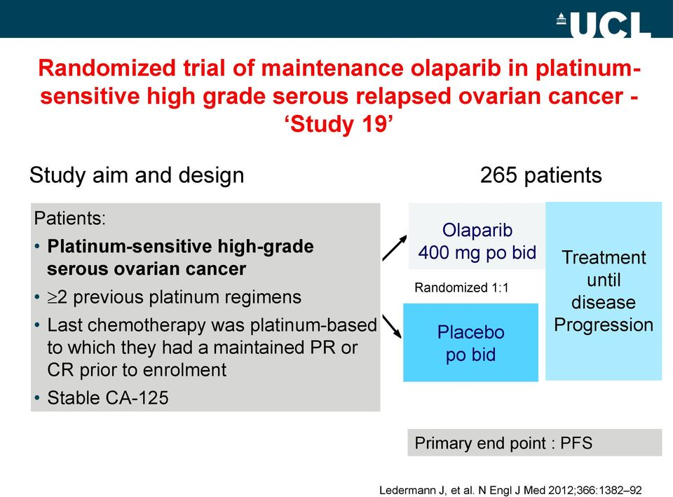 chemotherapy was platinum-based to which they had a maintained PR or CR prior to enrolment Stable CA-125 Olaparib 4 mg po bid
