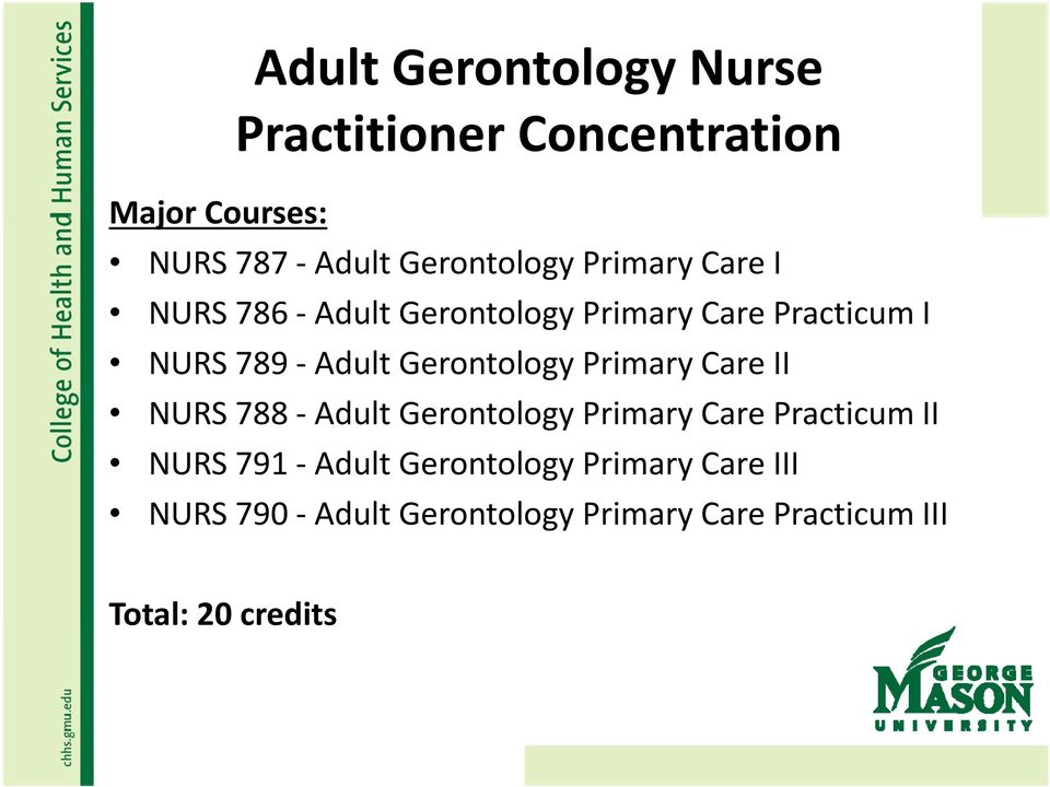 Gerontology Primary Care II NURS 788 Adult Gerontology Primary Care Practicum II NURS 791