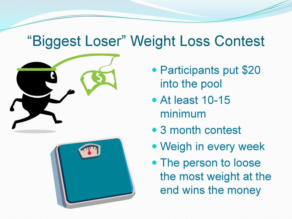 month contest Weigh in every week The person to