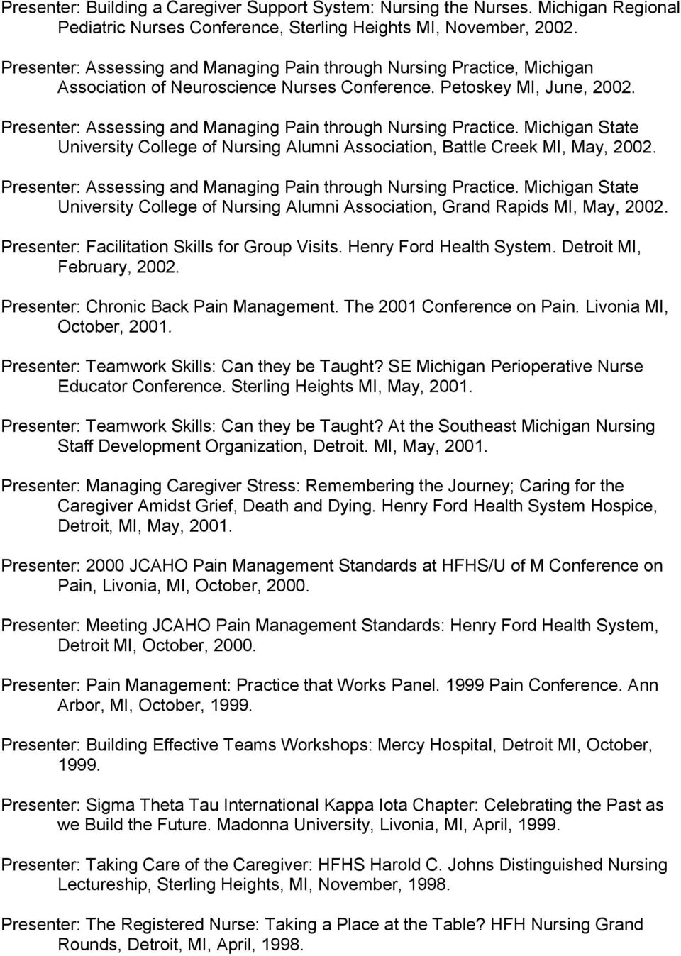 Presenter: Assessing and Managing Pain through Nursing Practice. Michigan State University College of Nursing Alumni Association, Battle Creek MI, May, 2002.