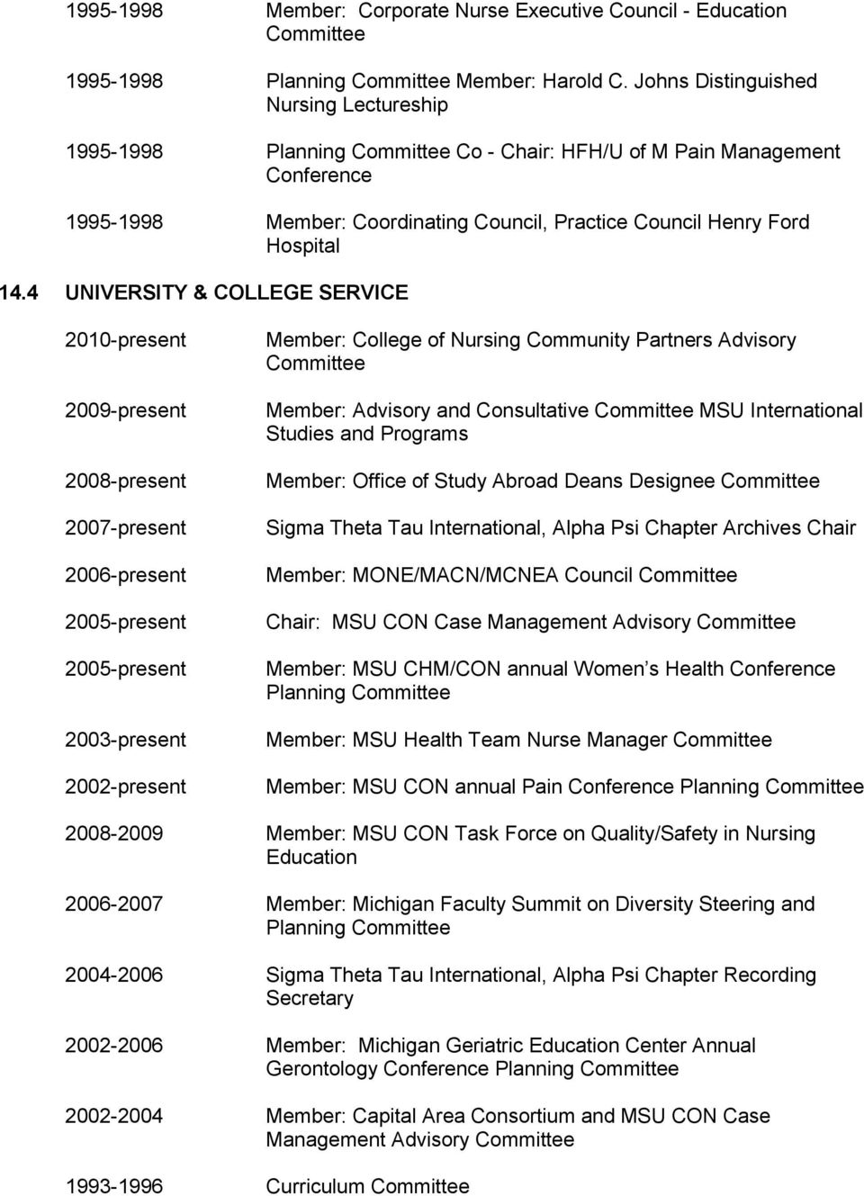 4 UNIVERSITY & COLLEGE SERVICE 2010-present 2009-present 2008-present 2007-present 2006-present 2005-present 2005-present 2003-present 2002-present Member: College of Nursing Community Partners