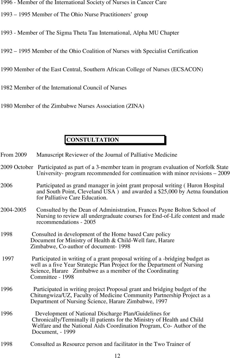 Nurses 1980 Member of the Zimbabwe Nurses Association (ZINA) CONSTULTATION From 2009 Manuscript Reviewer of the Journal of Palliative Medicine 2009 October Participated as part of a 3-member team in