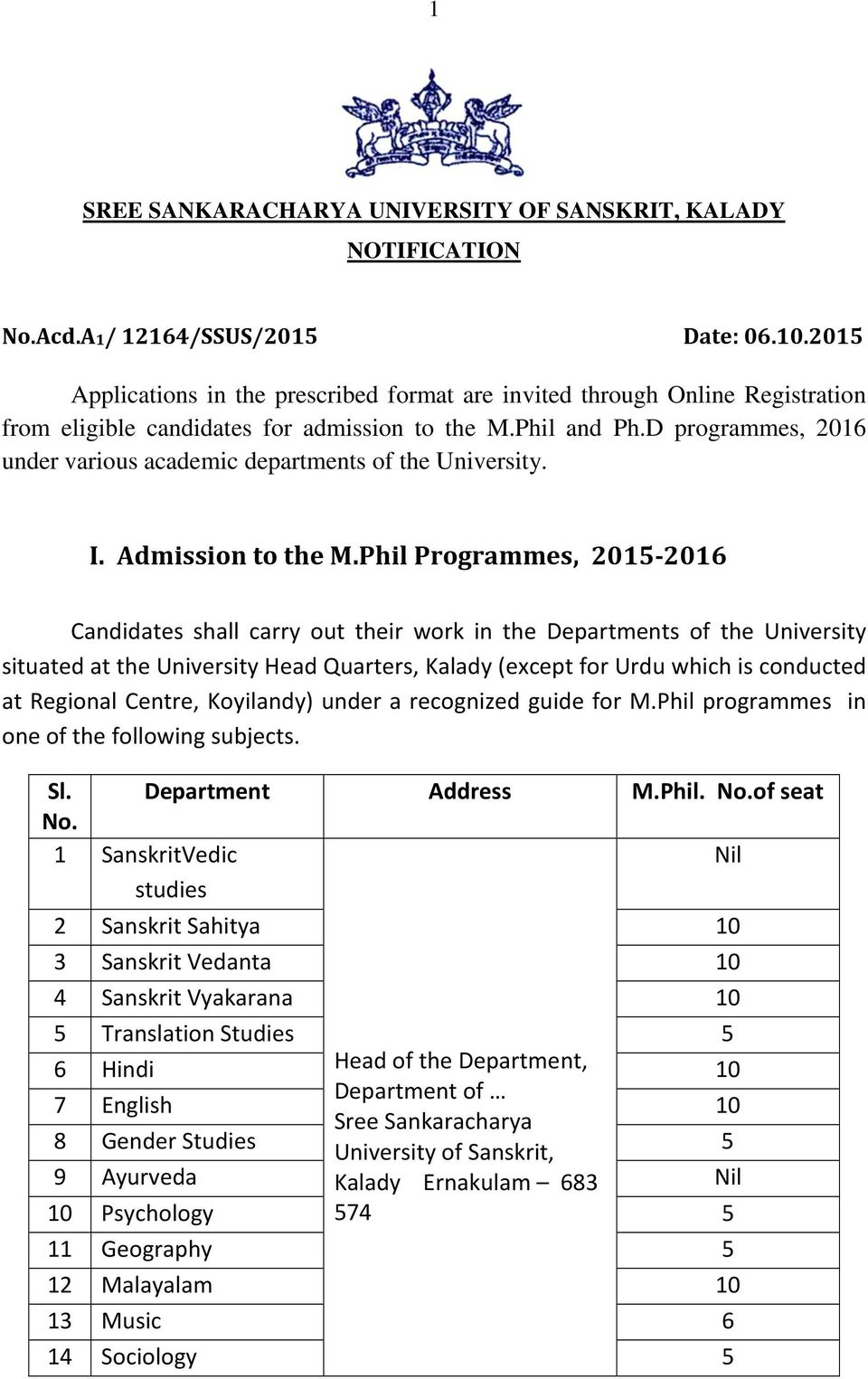 D programmes, 2016 under various academic departments of the University. I. Admission to the M.