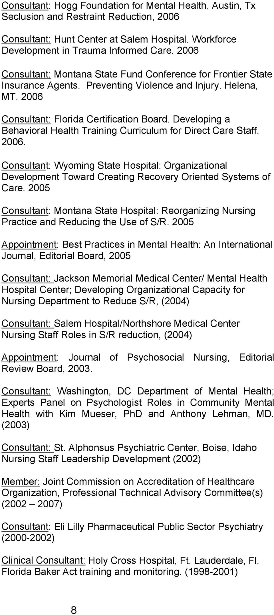 Developing a Behavioral Health Training Curriculum for Direct Care Staff. 2006. Consultant: Wyoming State Hospital: Organizational Development Toward Creating Recovery Oriented Systems of Care.