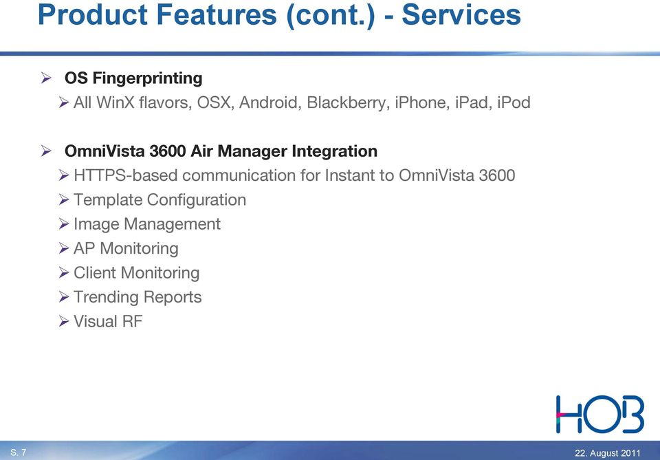 iphone, ipad, ipod OmniVista 3600 Air Manager Integration HTTPS-based