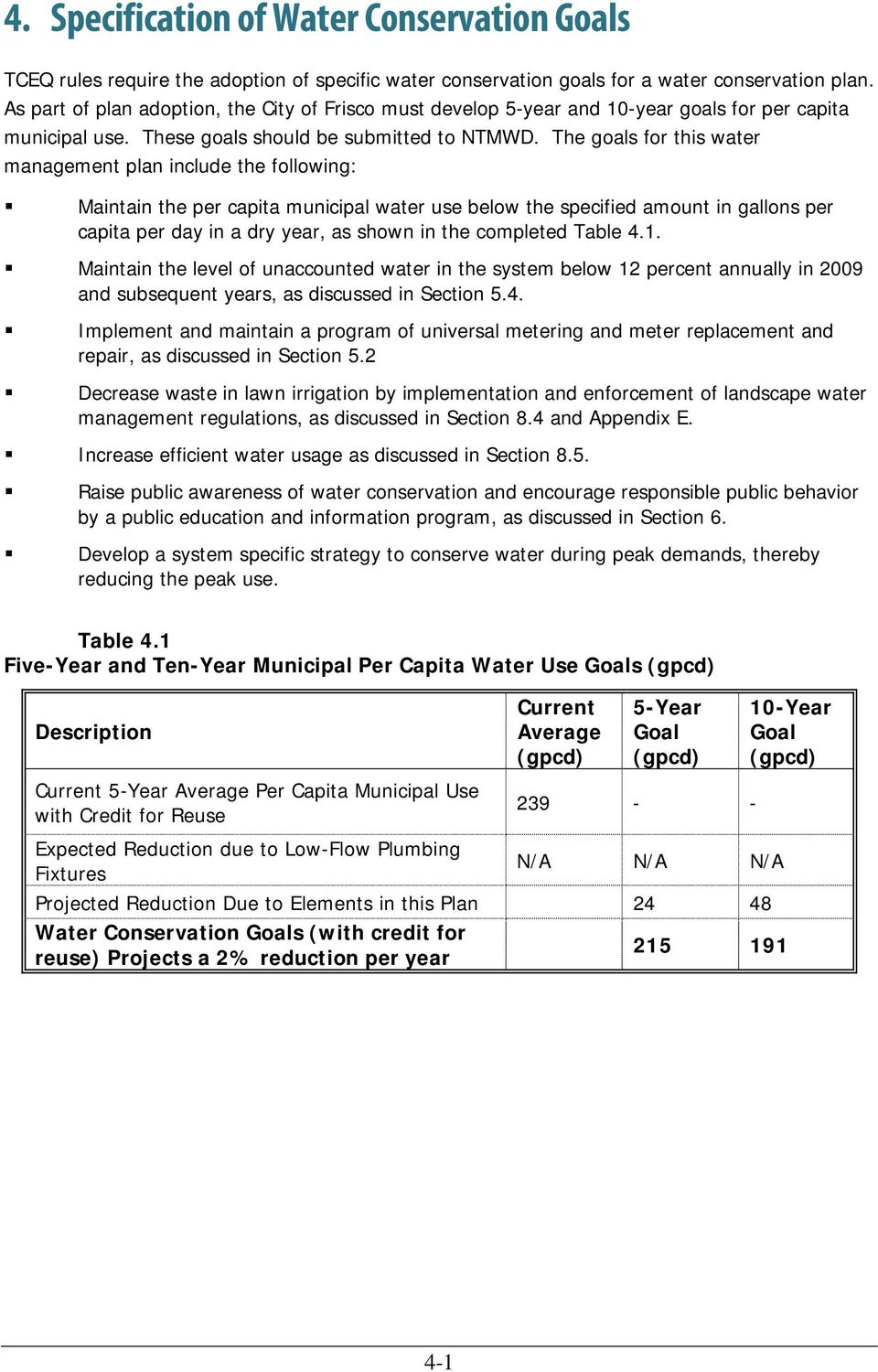 The goals for this water management plan include the following: Maintain the per capita municipal water use below the specified amount in gallons per capita per day in a dry year, as shown in the
