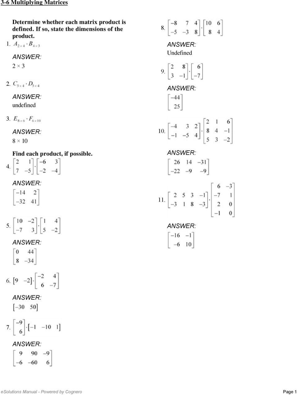 36 Multiplying Matrices Determine whether each matrix product is – Adding and Subtracting Matrices Worksheet