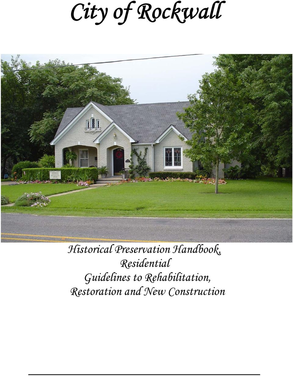 Residential Guidelines to