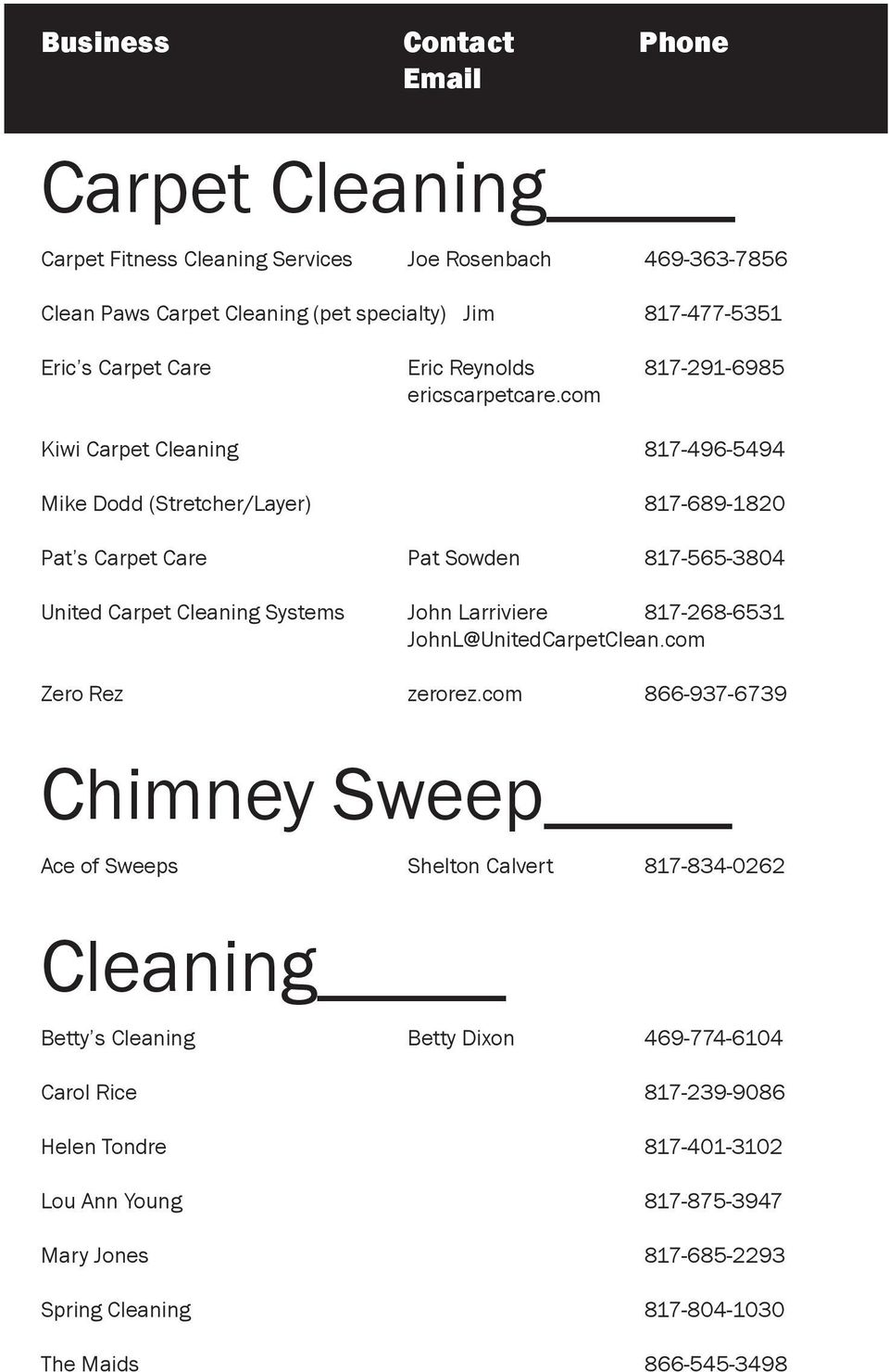 com Kiwi Carpet Cleaning 817-496-5494 Mike Dodd (Stretcher/Layer) 817-689-1820 Pat s Carpet Care Pat Sowden 817-565-3804 United Carpet Cleaning Systems John Larriviere