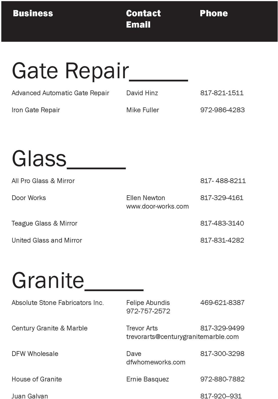 com Teague Glass & Mirror 817-483-3140 United Glass and Mirror 817-831-4282 Granite Absolute Stone Fabricators Inc.