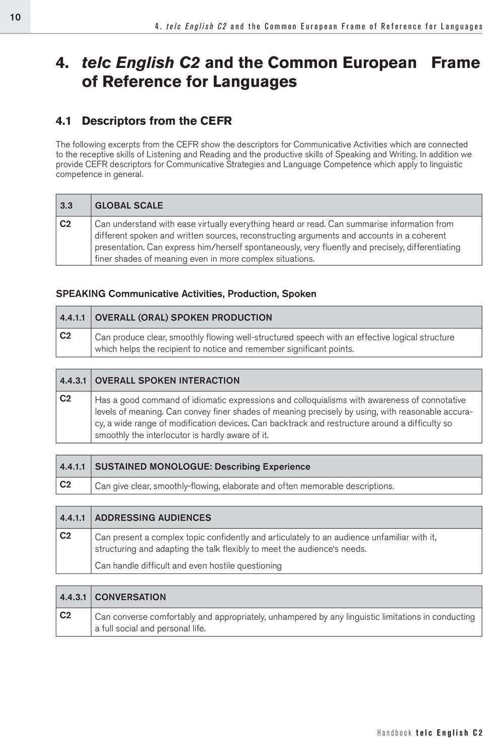 1 Descriptors from the CEFR The following excerpts from the CEFR show the descriptors for Communicative Activities which are connected to the receptive skills of Listening and Reading and the
