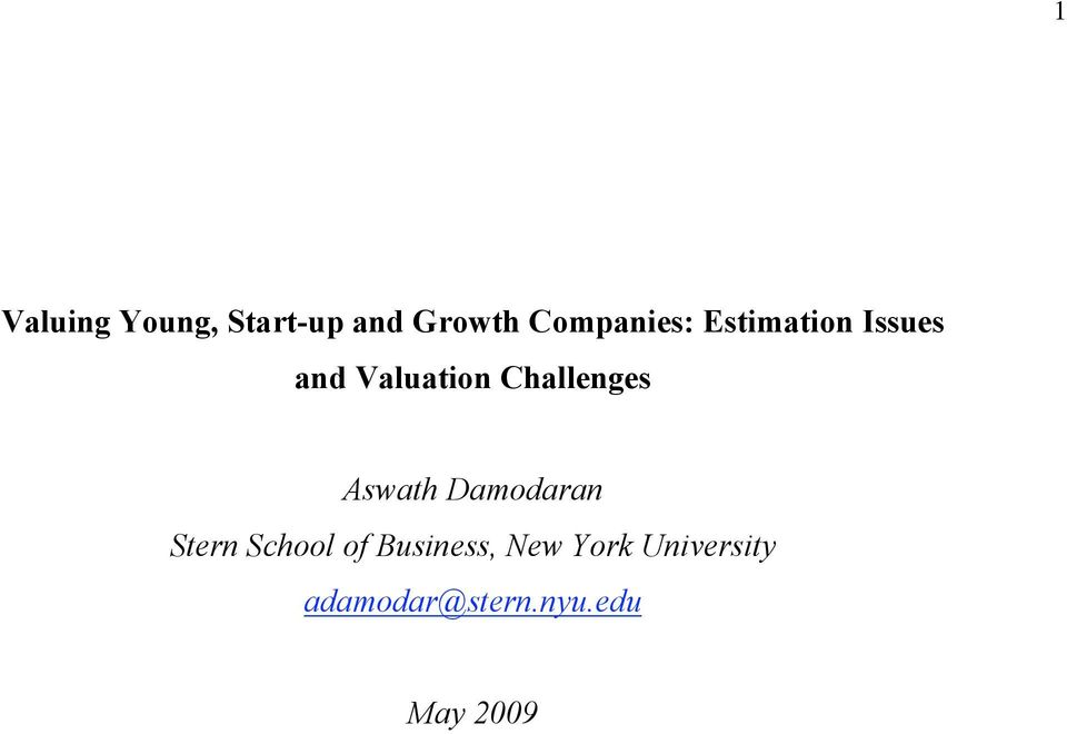 Challenges Aswath Damodaran Stern School of