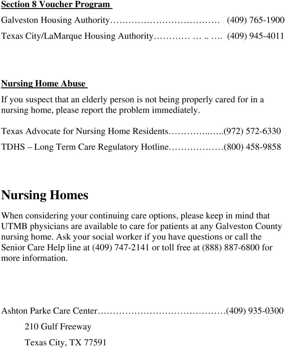 Texas Advocate for Nursing Home Residents.