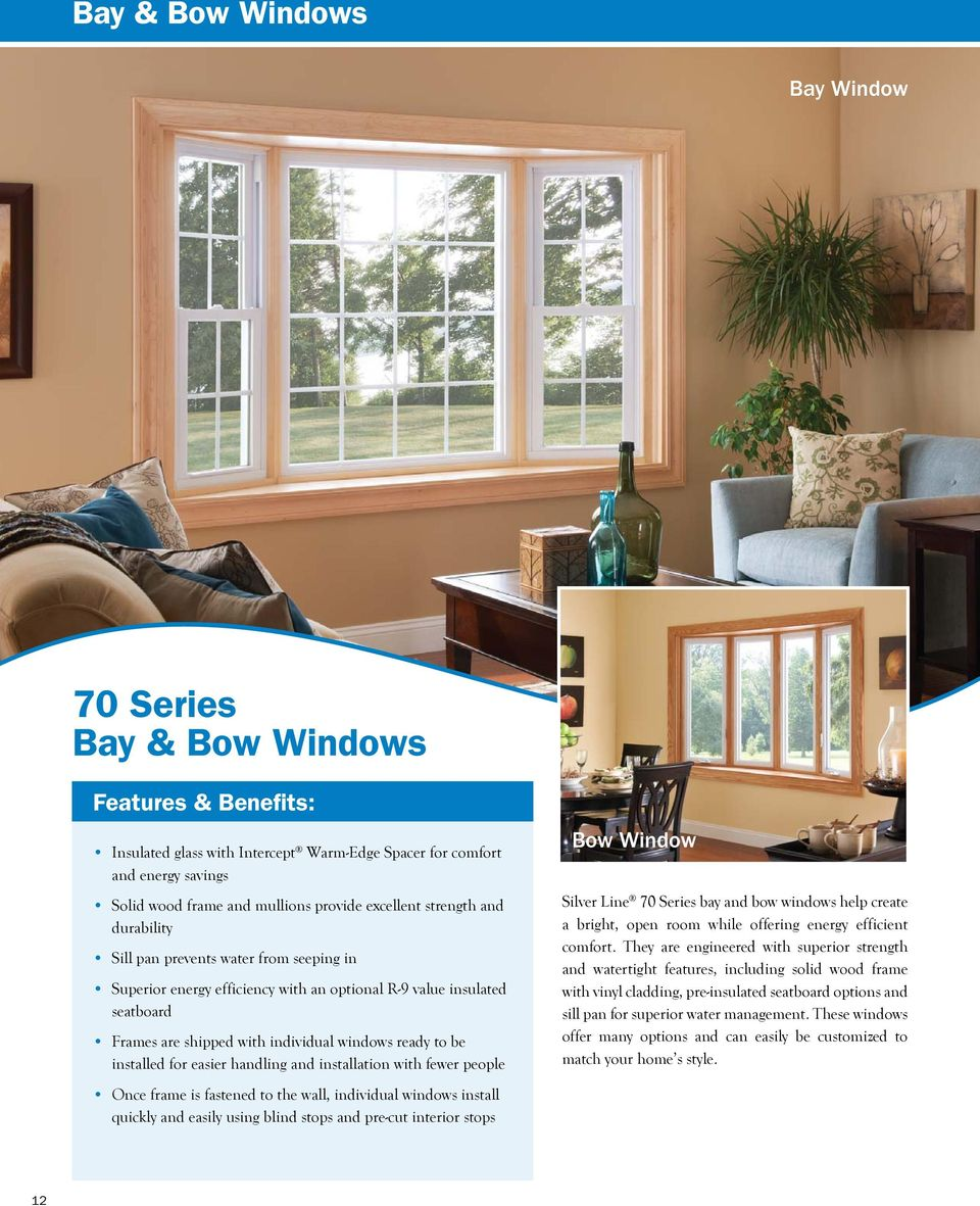 be installed for easier handling and installation with fewer people Once frame is fastened to the wall, individual windows install quickly and easily using blind stops and pre-cut interior stops Bow