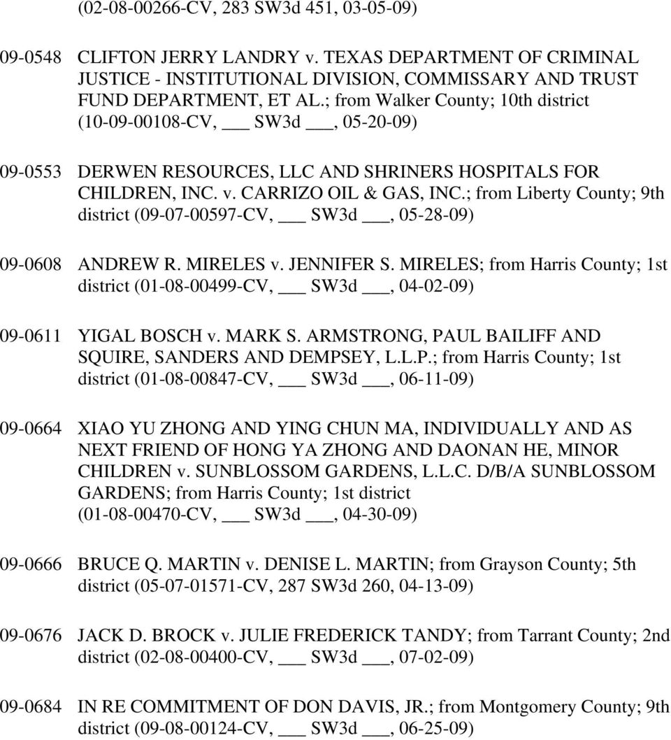 ; from Liberty County; 9th district (09-07-00597-CV, SW3d, 05-28-09) 09-0608 ANDREW R. MIRELES v. JENNIFER S.