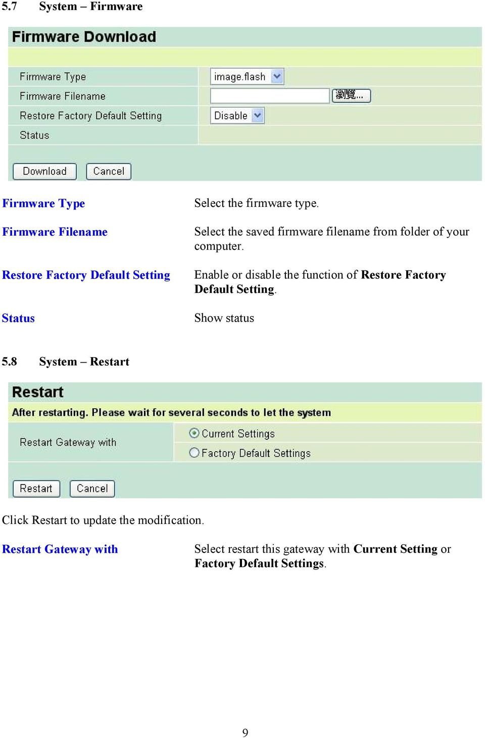 Enable or disable the function of Restore Factory Default Setting. Show status 5.