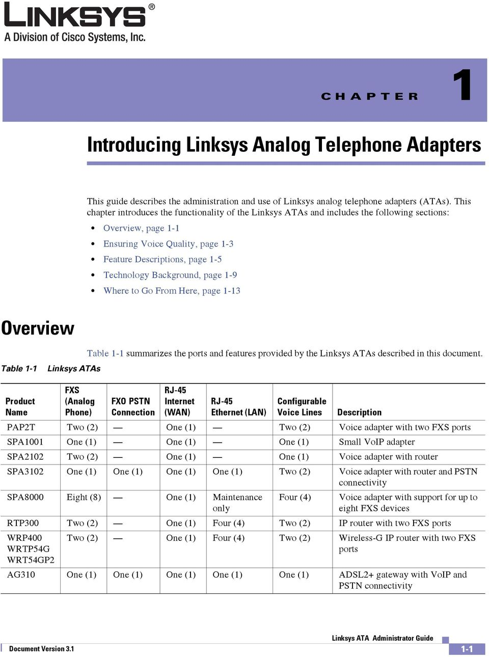 Background, page 1-9 Where to Go From Here, page 1-13 Overview Table 1-1 Linksys ATAs Table 1-1 summarizes the ports and features provided by the Linksys ATAs described in this document.