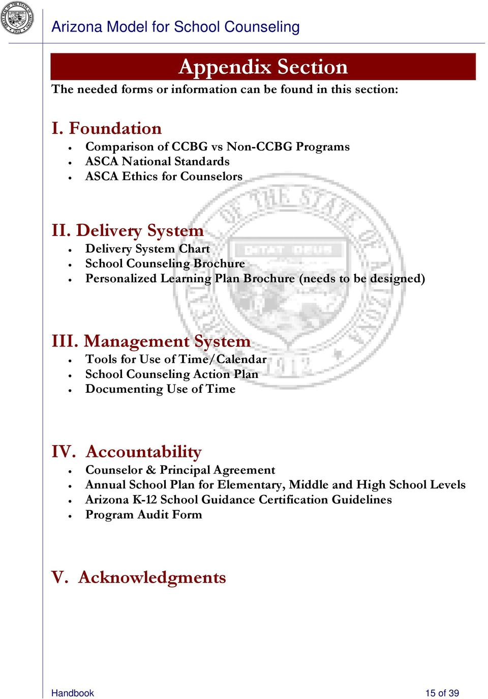 Delivery System Delivery System Chart School Counseling Brochure Personalized Learning Plan Brochure (needs to be designed) III.
