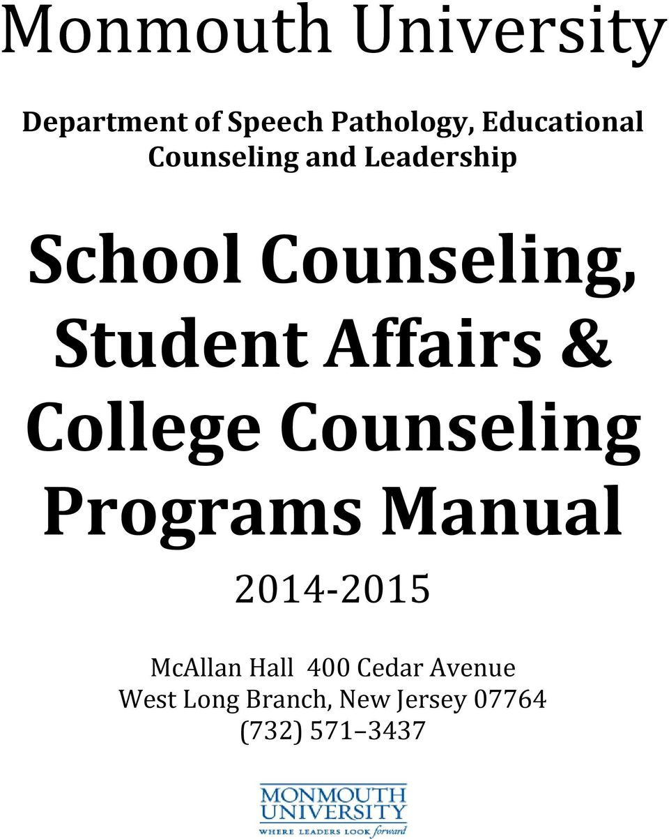 Student Affairs & College Counseling Programs Manual 2014-2015