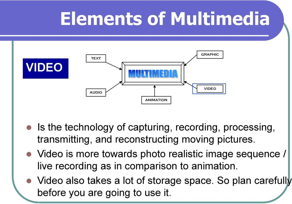 Video is more towards photo realistic image sequence / live recording as in comparison to