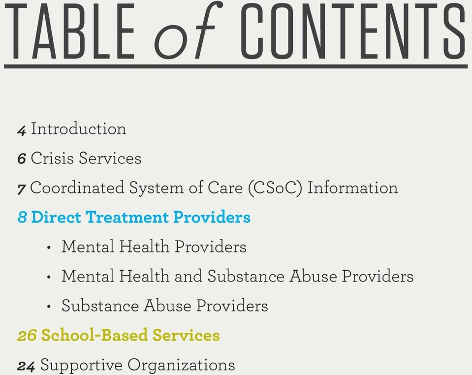 Mental Health Providers Mental Health and Substance Abuse Providers