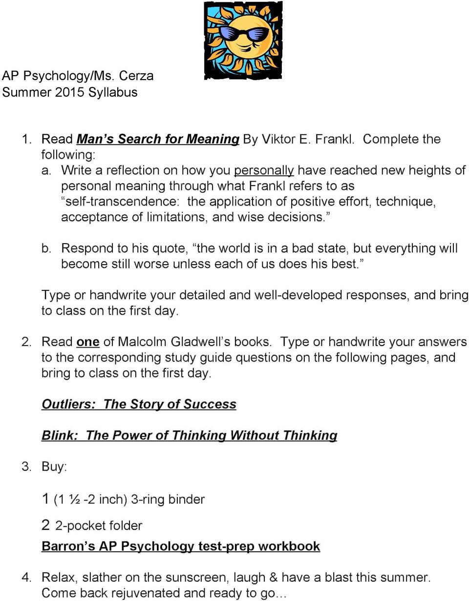 man's search for meaning essay example Undergraduate essay: man's search for meaning by viktor frankl.