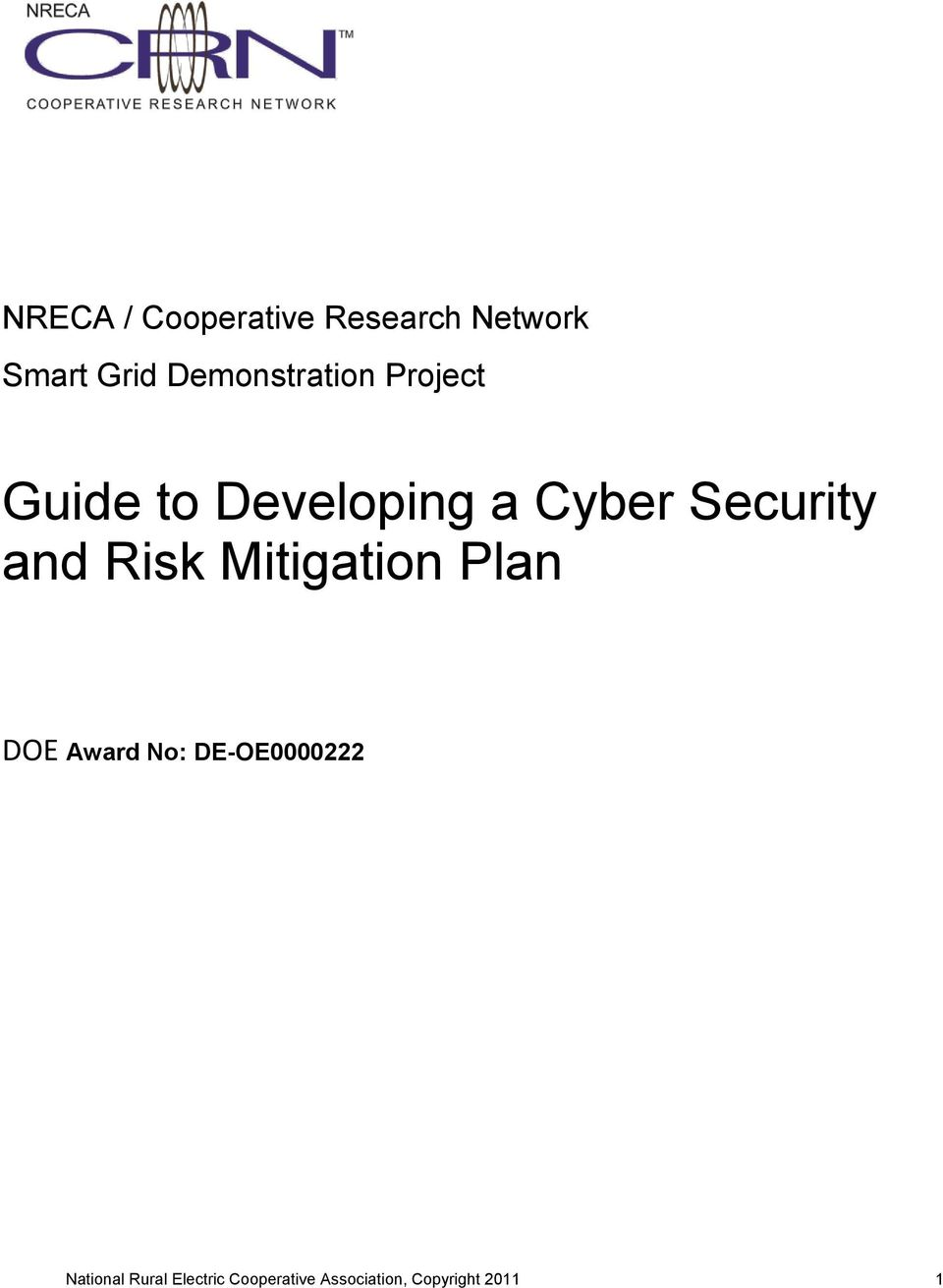 Security and Risk Mitigation Plan DOE Award No: