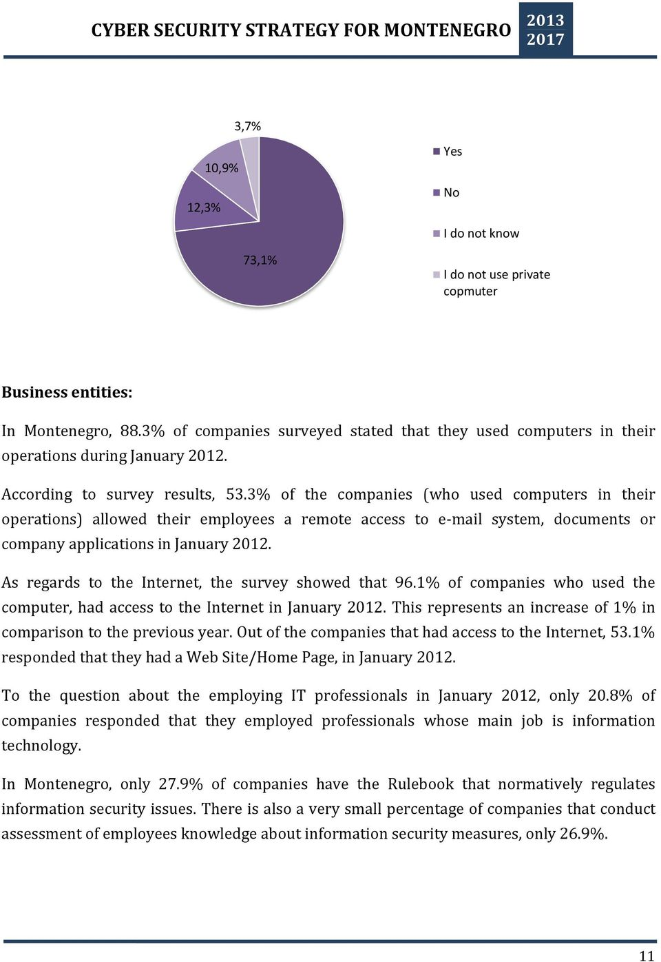 3% of the companies (who used computers in their operations) allowed their employees a remote access to e-mail system, documents or company applications in January 2012.