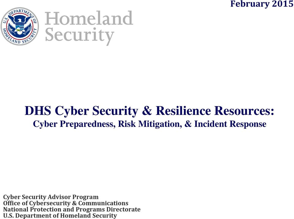 Advisor Program Office of Cybersecurity & Communications National