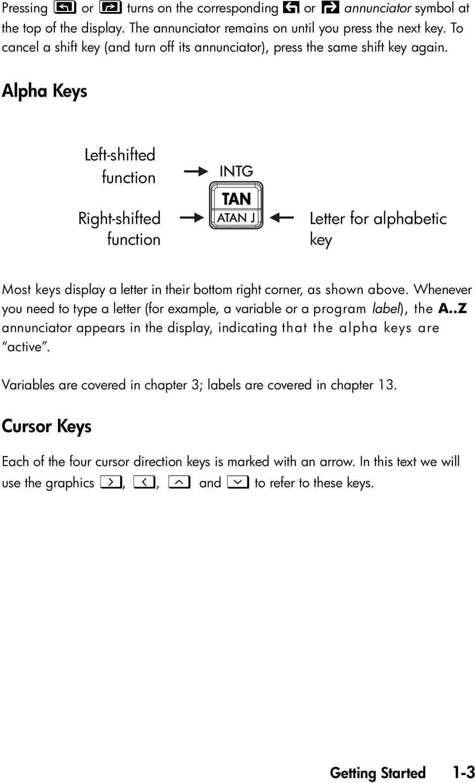 Alpha Keys Left-shifted function Right-shifted function Letter for alphabetic key Most keys display a letter in their bottom right corner, as shown above.