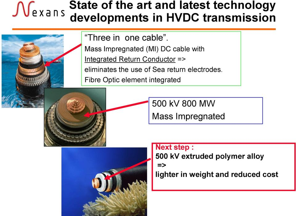 Mass Impregnated (MI) DC cable with Integrated Return Conductor => eliminates the use