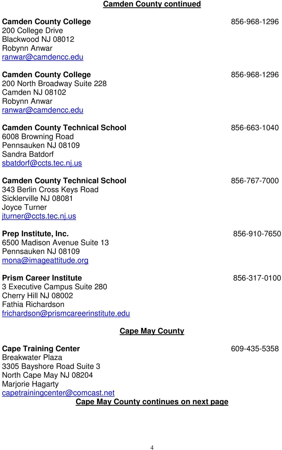 edu Camden County Technical School 856-663-1040 6008 Browning Road Pennsauken NJ 08109 Sandra Batdorf sbatdorf@ccts.tec.nj.