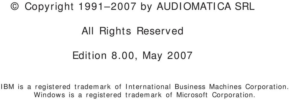 00, May 2007 IBM is a registered trademark of