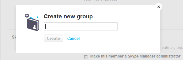 1. View the details of the member who you want to add to a group. For more information on how to do this, please see 4.6 Managing your members. 2. Under Skype Manager settings, click create a group.