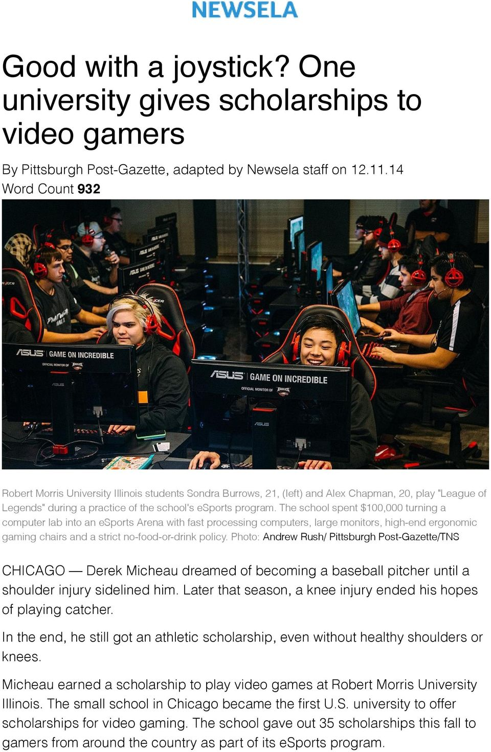The school spent $100,000 turning a computer lab into an esports Arena with fast processing computers, large monitors, high-end ergonomic gaming chairs and a strict no-food-or-drink policy.