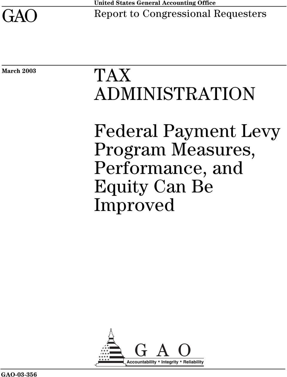 ADMINISTRATION Federal Payment Levy Program