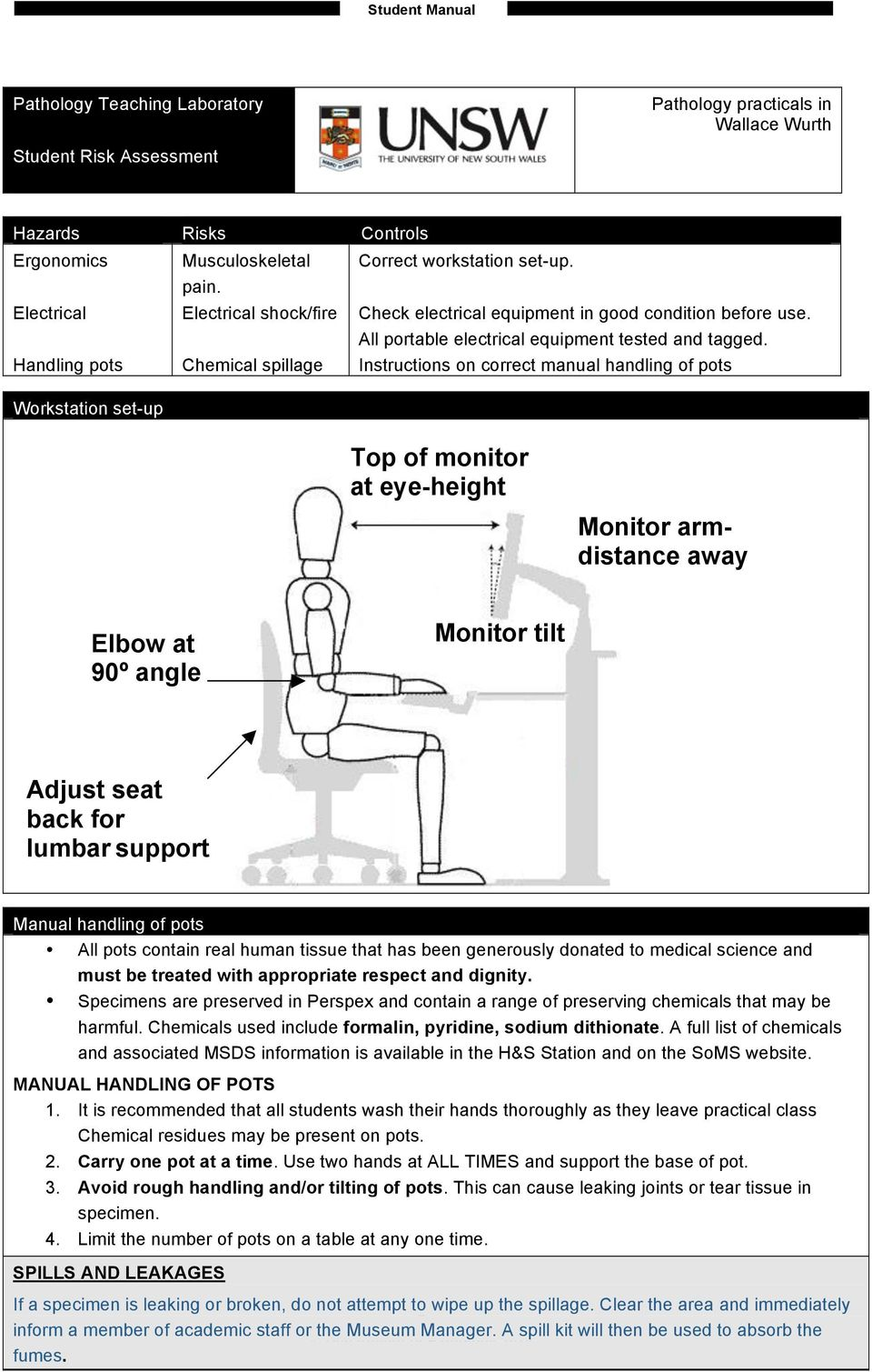 Instructions on correct manual handling of pots Workstation set-up Top of monitor at eye-height Monitor armdistance away Elbow at 90º angle Monitor tilt Adjust seat back for lumbar support Manual