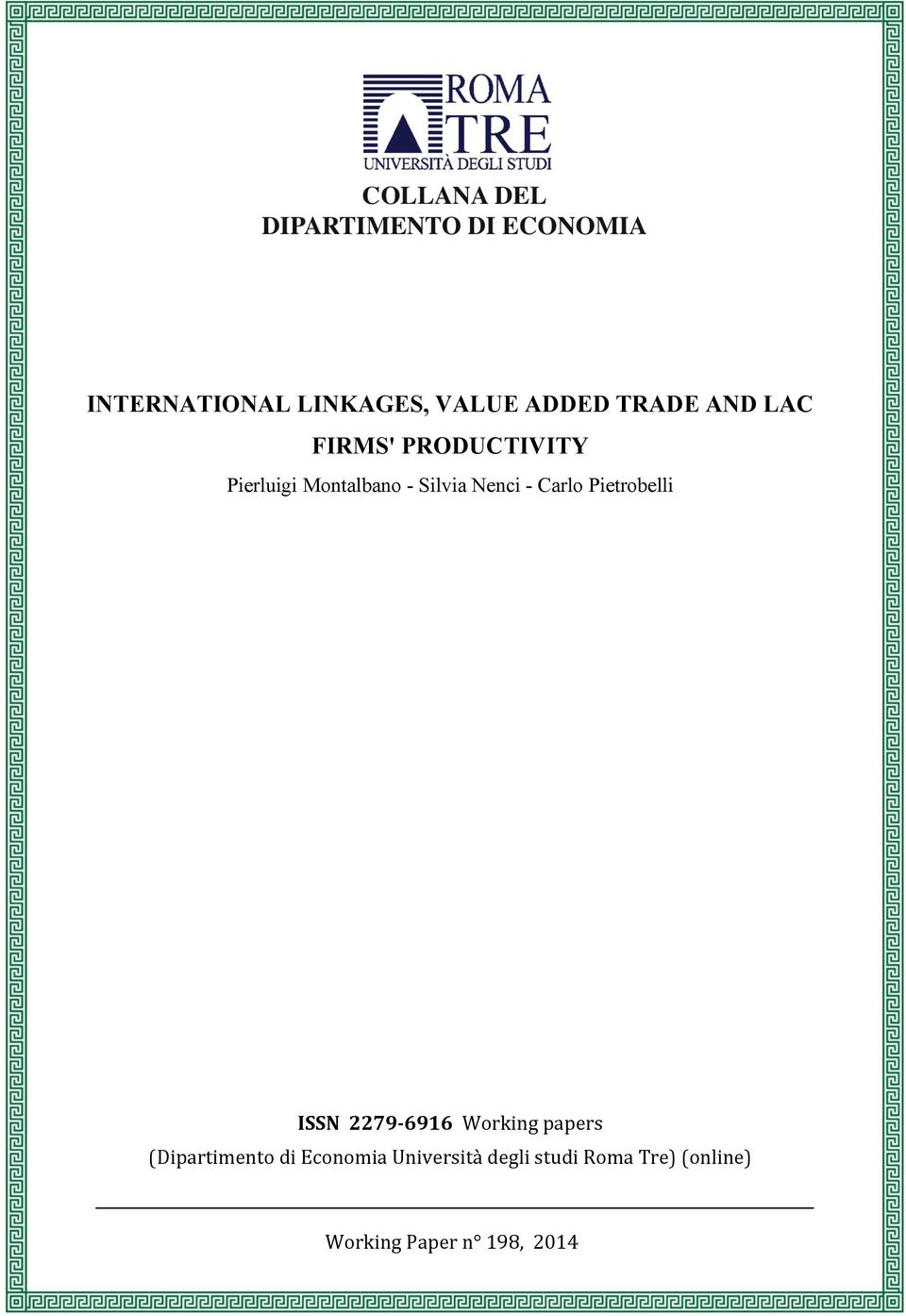 Pietrobelli ISSN 2279-6916 Working papers (Dipartimento di