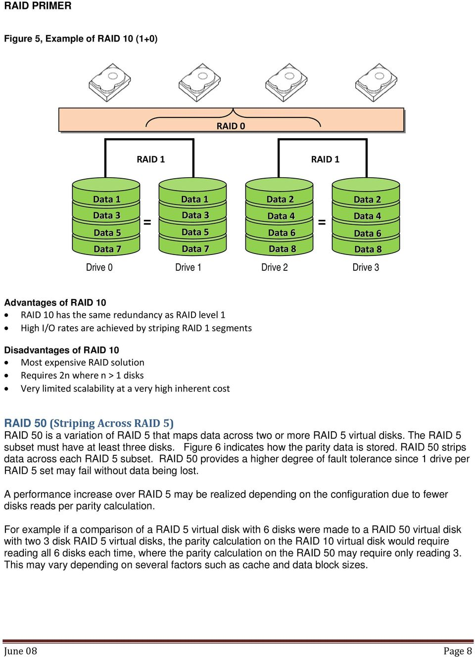where n > 1 disks Very limited scalability at a very high inherent cost RAID 50 (Striping Across RAID 5) RAID 50 is a variation of RAID 5 that maps data across two or more RAID 5 virtual disks.