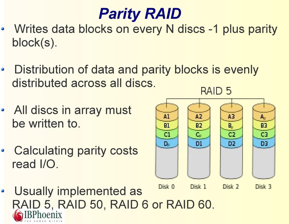 Distribution of data and parity blocks is evenly distributed across