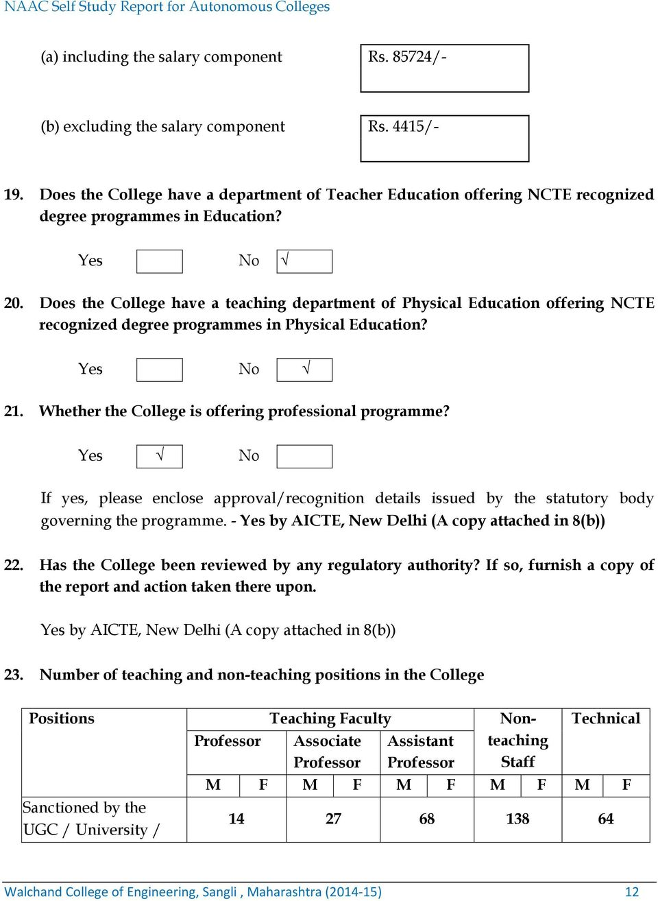 Does the College have a teaching department of Physical Education offering NCTE recognized degree programmes in Physical Education? Yes No 21. Whether the College is offering professional programme?