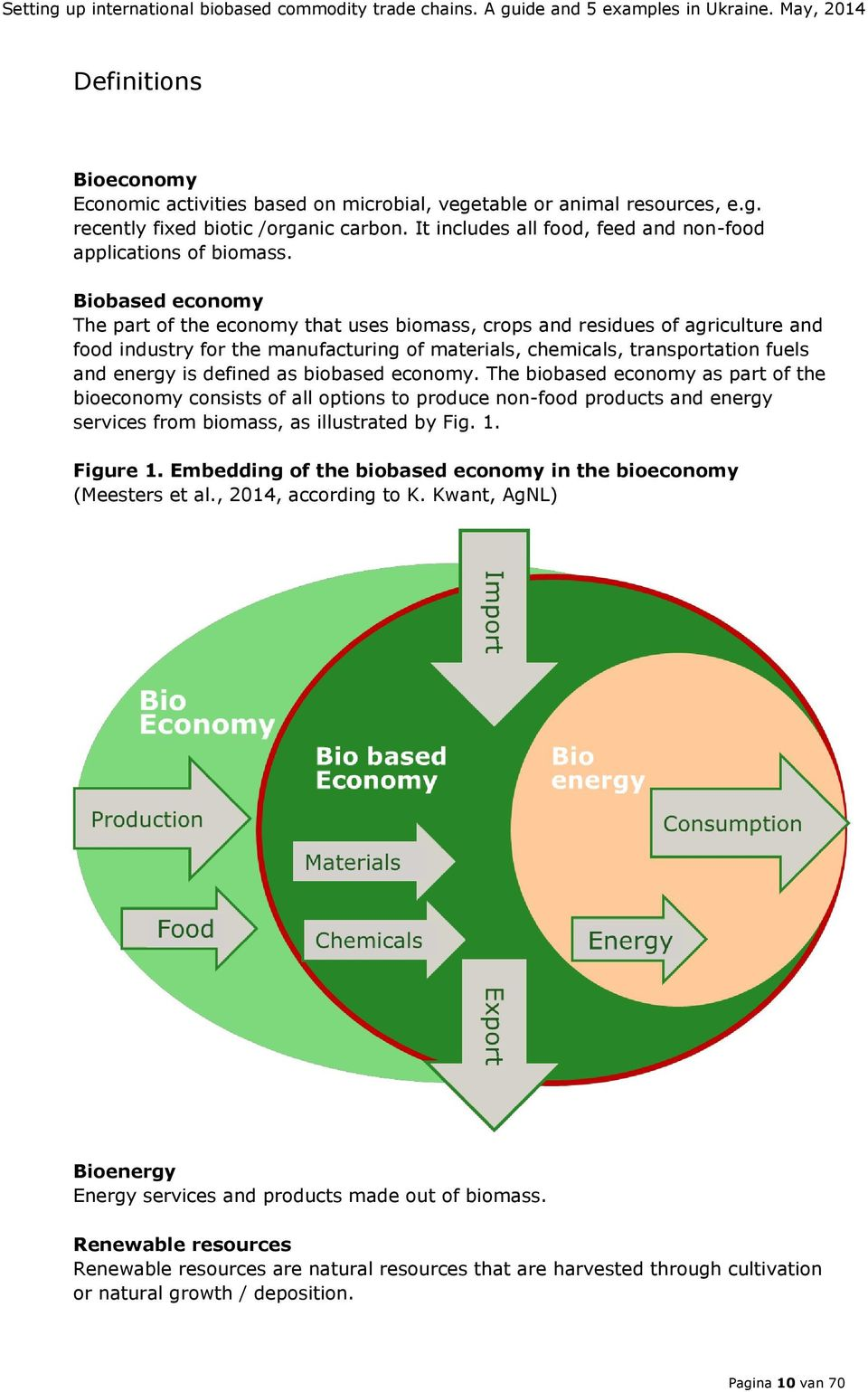 Biobased economy The part of the economy that uses biomass, crops and residues of agriculture and food industry for the manufacturing of materials, chemicals, transportation fuels and energy is