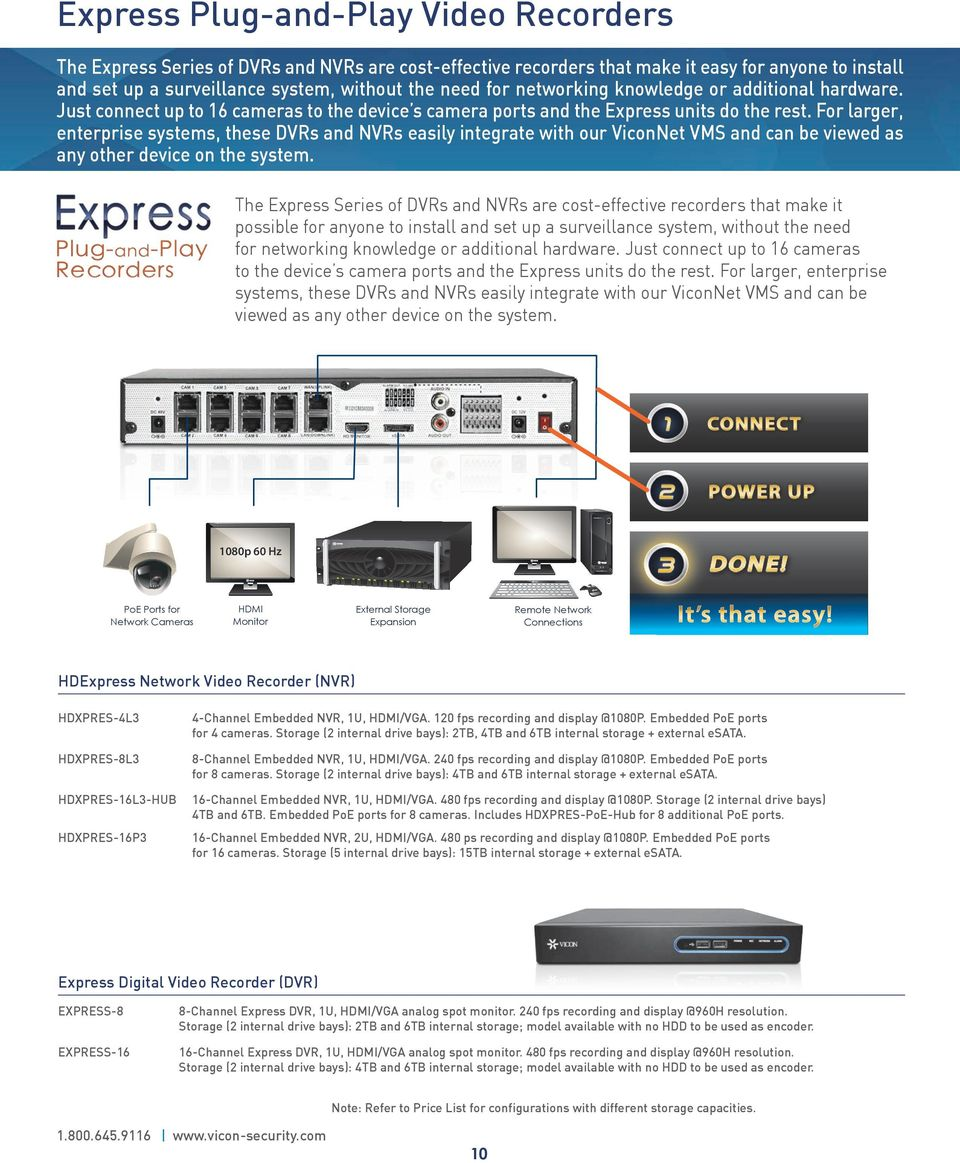 For larger, enterprise systems, these DVRs and NVRs easily integrate with our ViconNet VMS and can be viewed as any other device on the system.