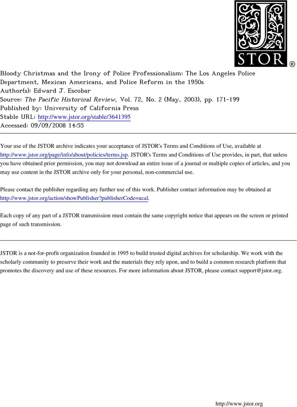 org/stable/3641395 Accessed: 09/09/2008 14:55 Your use of the JSTOR archive indicates your acceptance of JSTOR's Terms and Conditions of Use, available at http://www.jstor.