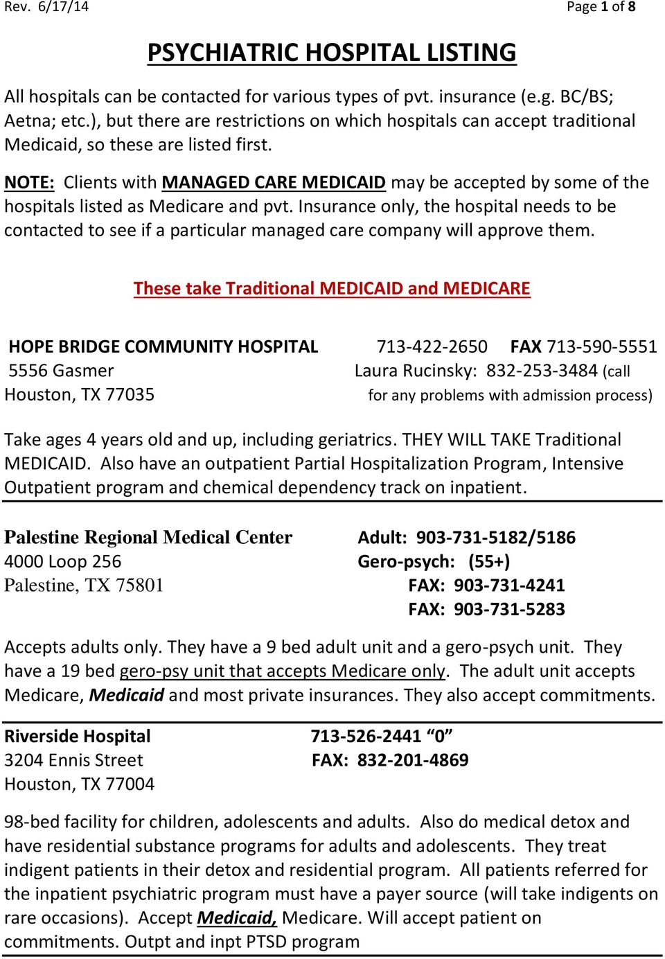 NOTE: Clients with MANAGED CARE MEDICAID may be accepted by some of the hospitals listed as Medicare and pvt.