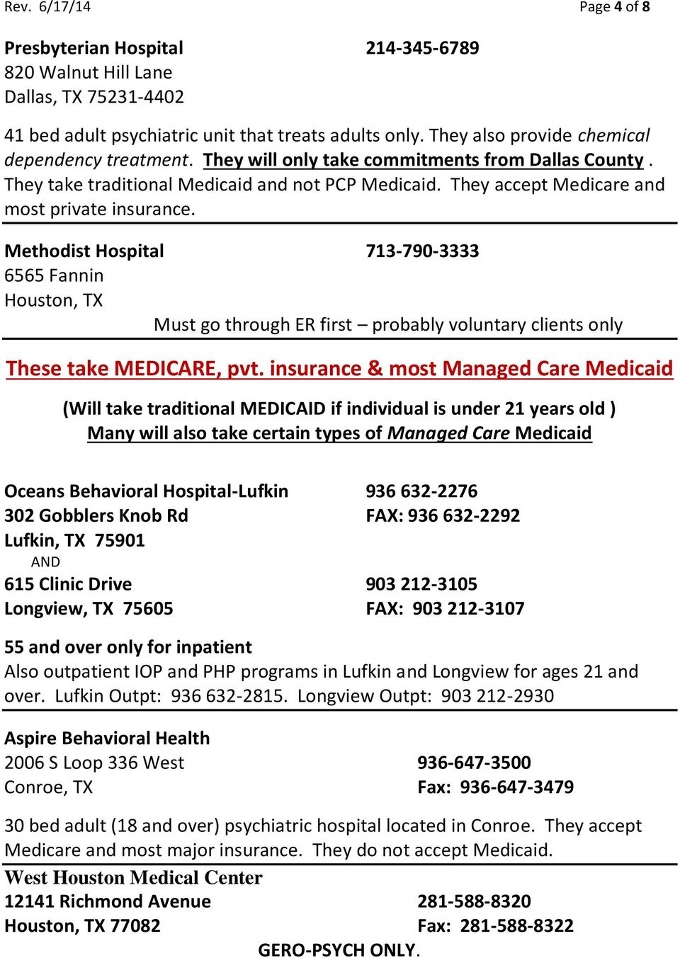 They accept Medicare and most private insurance. Methodist Hospital 713-790-3333 6565 Fannin Must go through ER first probably voluntary clients only These take MEDICARE, pvt.