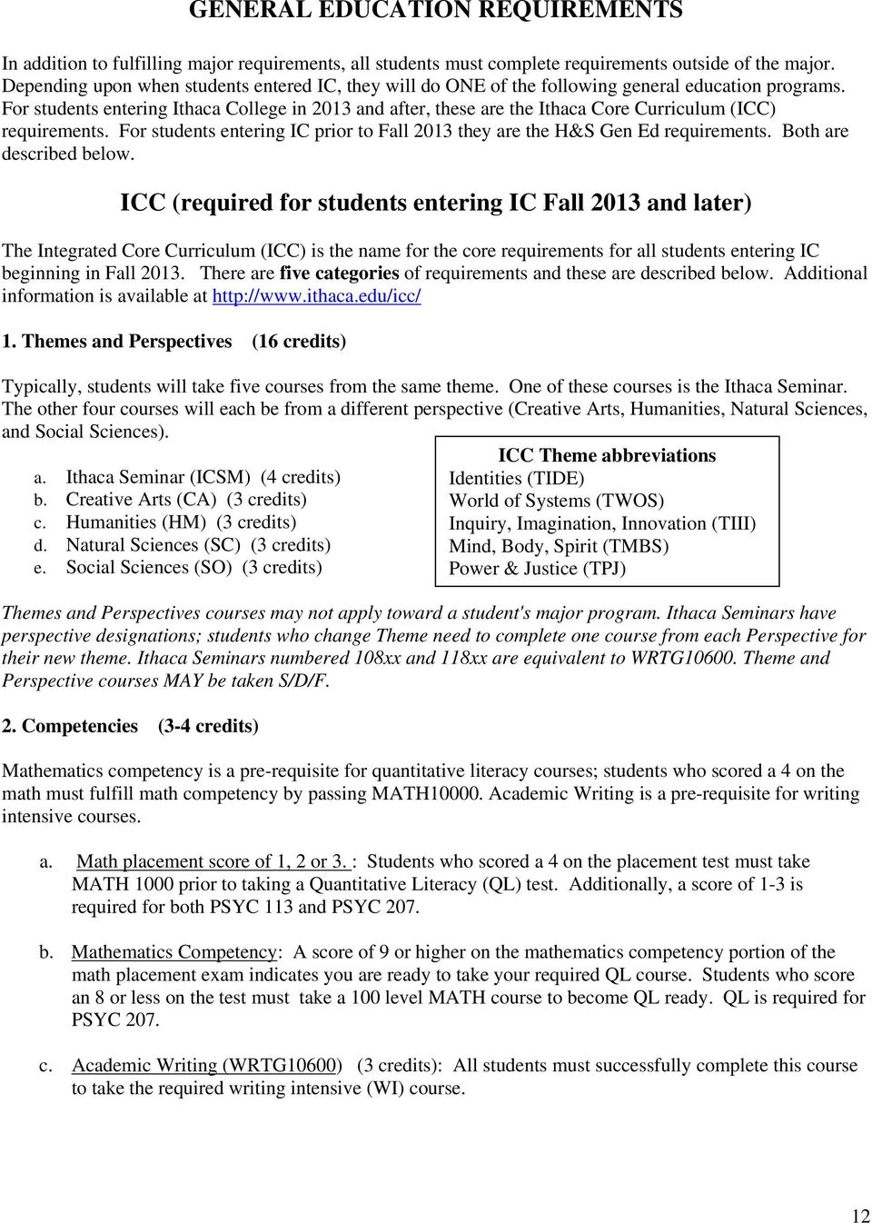 For students entering Ithaca College in 2013 and after, these are the Ithaca Core Curriculum (ICC) requirements. For students entering IC prior to Fall 2013 they are the H&S Gen Ed requirements.