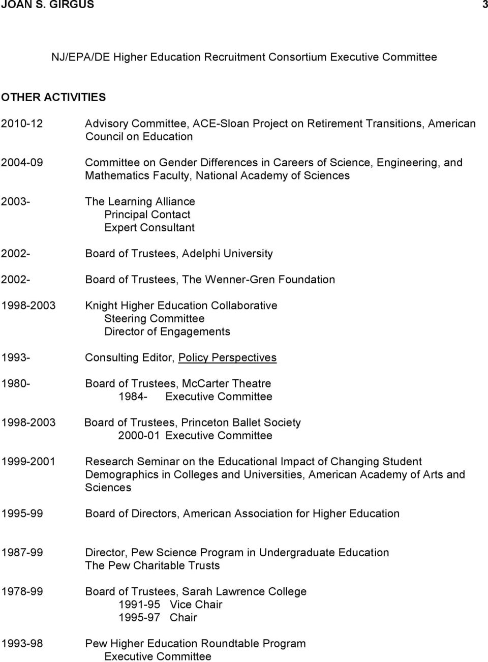 2004-09 Committee on Gender Differences in Careers of Science, Engineering, and Mathematics Faculty, National Academy of Sciences 2003- The Learning Alliance Principal Contact Expert Consultant 2002-