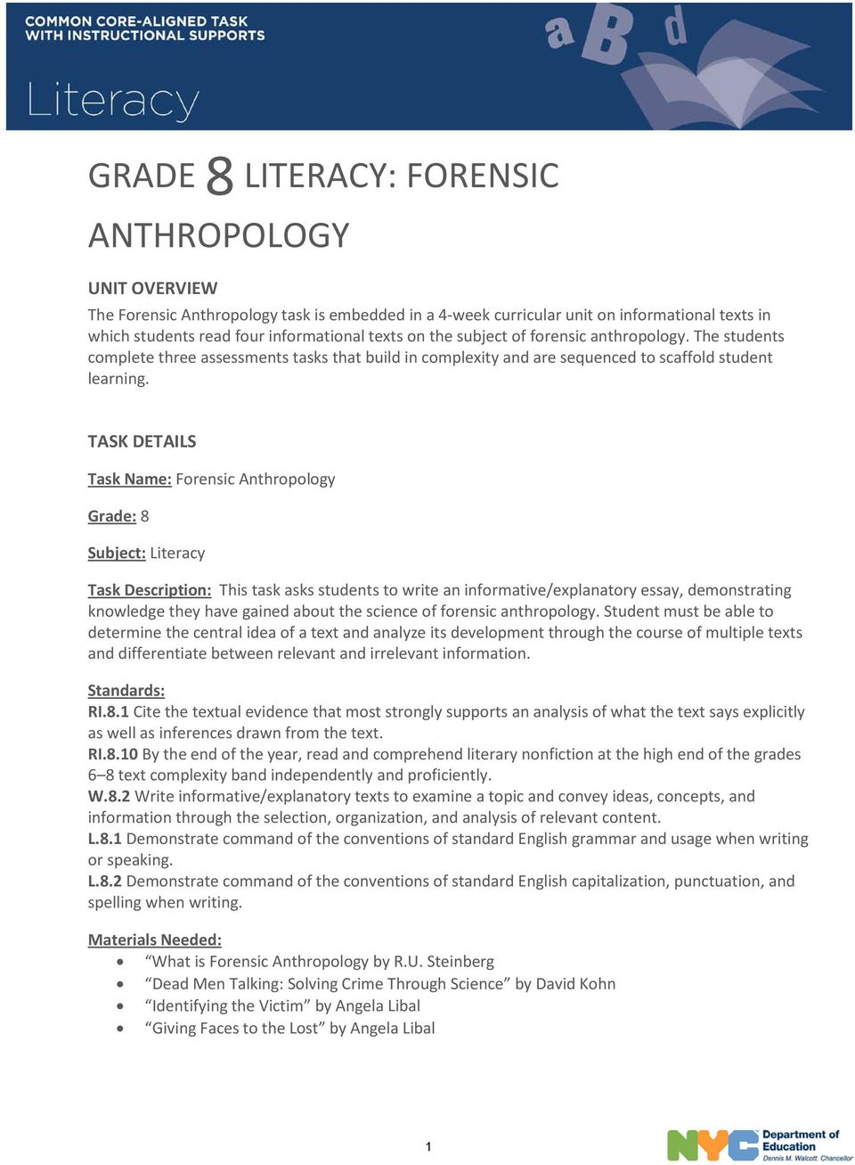 grade literacy forensic anthropology pdf task details task forensic anthropology grade 8 subject literacy task description